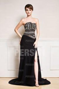 robe-noire-bustier-fendue-noire-a-bustier-pailletee