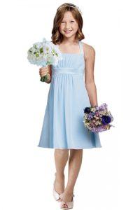 robe-pour-fille-d-honneur-plissee-col-halter-courte-au-genou