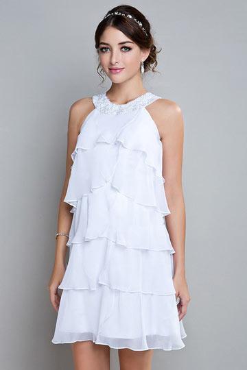 robe-blanche-courte-encolure-ronde-a-volants