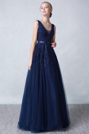 robe-de-fiancailles-bleu-nuit-dos-decollete-v-haut-appliquee-de-dentelle-2016