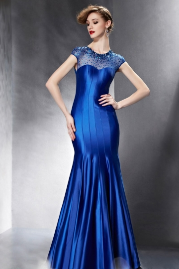 robe-soiree-bleue-encolure-illusion-sirene-ornee-de-paillettes