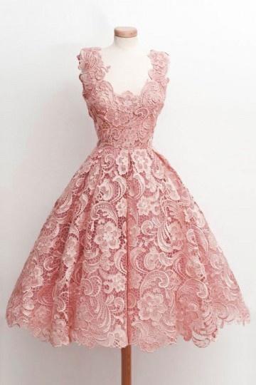 romantique-rose-robe-courte-en-dentelle-pour-fiancaille