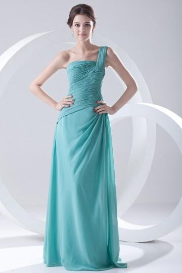 robe-bleue-pour-mariage-longue-asymetrique-plissee