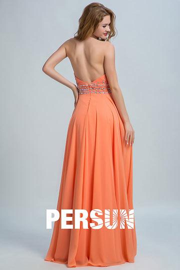 robe-longue-orange-pour-fiancailles-col-halter-dos-echancre