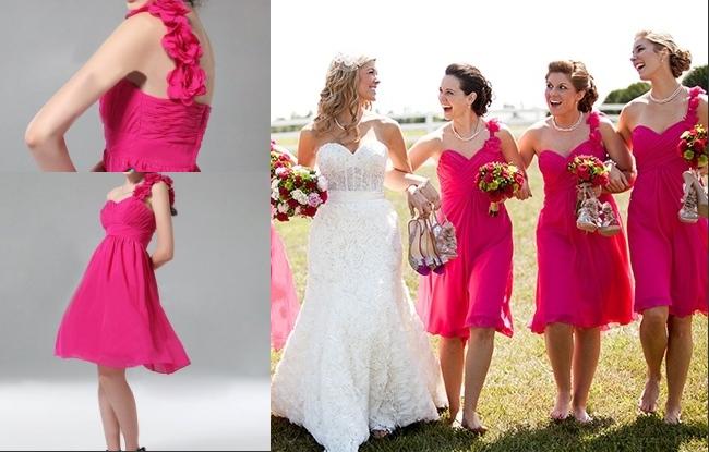 robes-fuchsia-courte-asymetrique-ornees-fleurs-pour-mariage