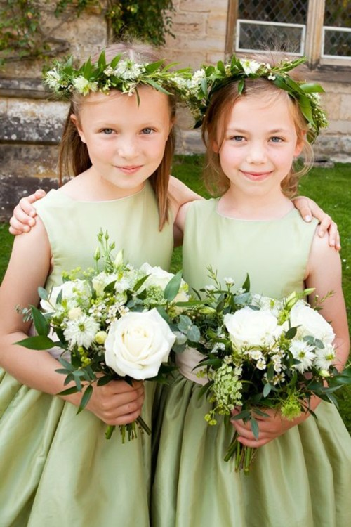Robes simples verte Greenery de cortège fille mariage pour 2017