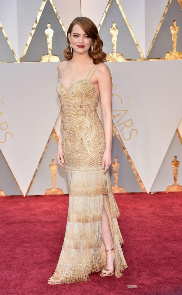 emma stone robe champagne fendue à franges Oscar 2017