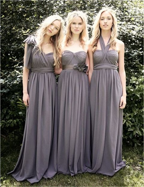 Chic robe maxi grise pour mariage printemps