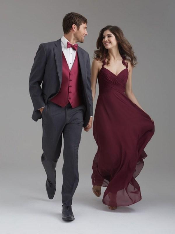 Robe de fiançailles longue bordeaux