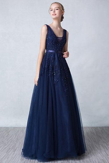 Robe soirée bleu nuit longue féerique décolleté en V appliquée