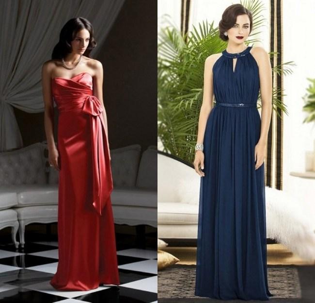 chic robes de fiançailles longues 2017 rose & bleu de nuit