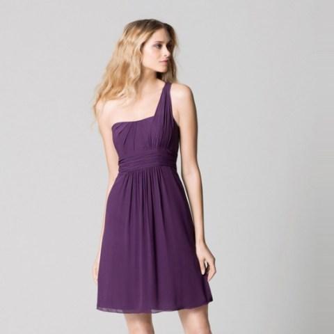 robe violet prune simple courte asymétrique pour mariage été