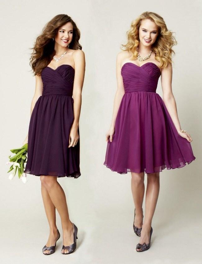 simples robes décolletée prunes pour demoiselle d'honneur