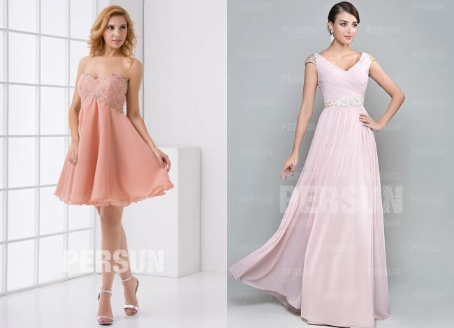 Robe invité mariage courte & longue en rose