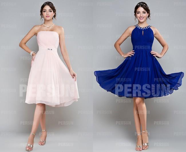 robe rose courte bustier plissée & robe bleue courte col ronde demoiselle d'honneur
