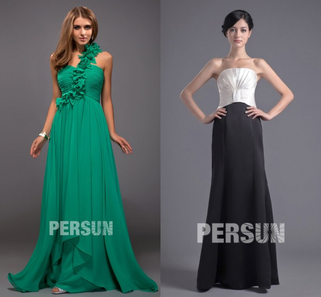 robe verte empire symétrique & robe couleur bloc blanc noir