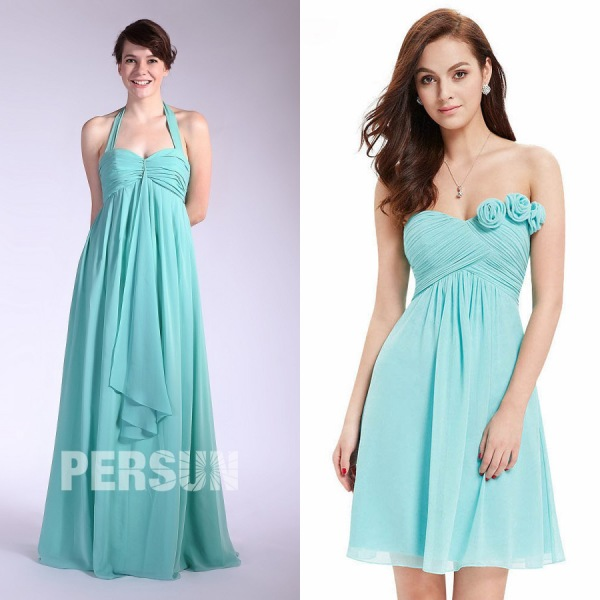 Robe longue col halter & robe courte fleurie turquoise pour mariage