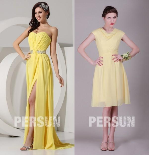 robe-longue-bustier-coeur-fendue & robe-jaune-courte-col-drapée