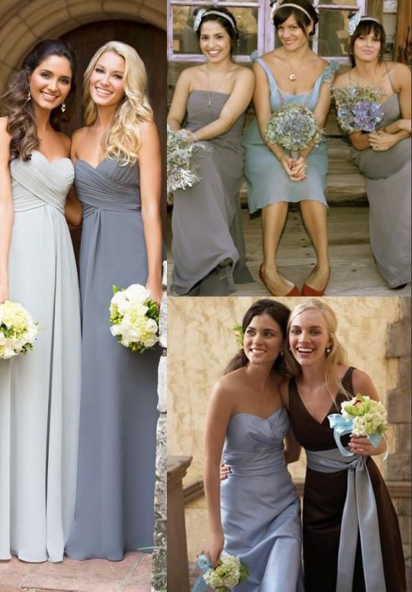 robes chic grises pour demoiselles d'honneur