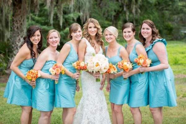 robes chic turquoise courte pour demoiselles d'honneur