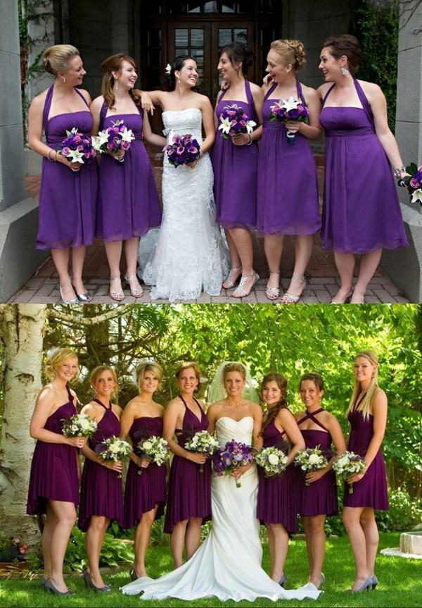 Robes de demoiselle d'honneur en violet convertible