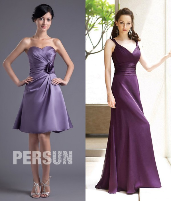petite robe violette bustier & robe longue en violet col V