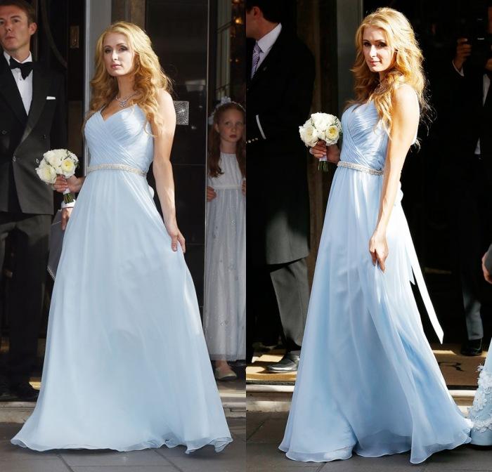 Paris Hilton en bleu pastel robe demoiselle d'honneur