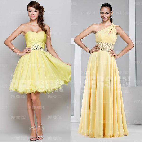 petite robe-jaune-soiree-pour-mariage & robe-jaune-chic-asymétrique-longue