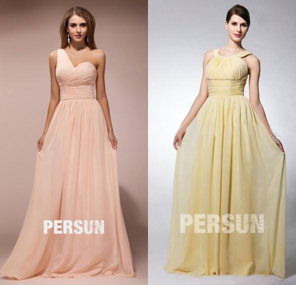 robe-rose-asymétrique-témoin-mariage-longue & Simple-robe-jaune-longue-à-col-rond-plissée