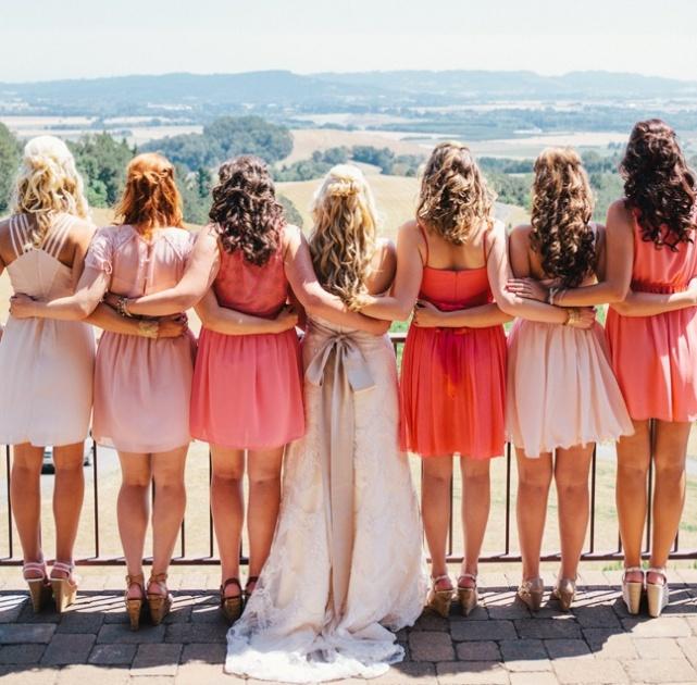 palettes corail + rose pastel pour témoin mariage automne