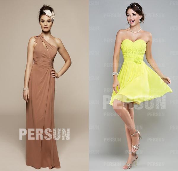robe longue asymétrique colonne & robe verte pastel courte bustier coeur