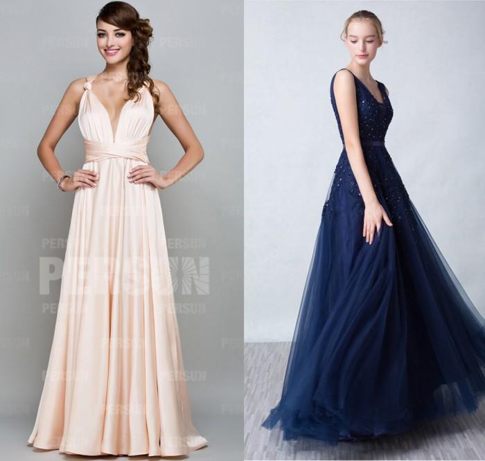 robe rose col V & robe bleu vintage soirée mariage