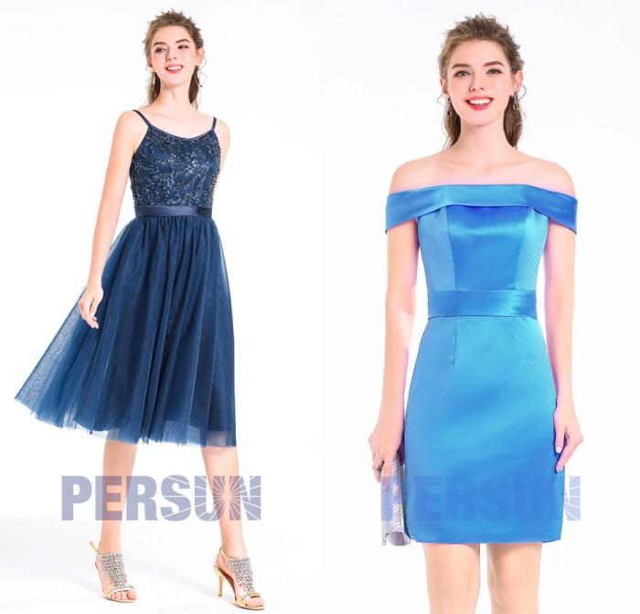 robe-2018-soiree-courte-bleu-nuit-&-robe-courte-col-bardot-pour-mariage