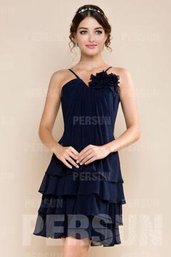 Chic petite robe bleu nuit trapèze col halter avec bretelle fine à fleur