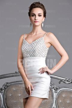 Chic petite robe pour mariage moulante décolleté V avec bretelle fine à paillettes