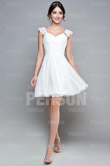 Chic petite robe témoin mariage plissée dos échancré en U à mancherons en mousseline