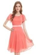 Chic robe courte orange corail aux mancherons pour cortège mariage