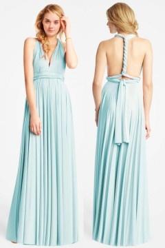 Chic robe maxi vert d'eau longue dos nu pour témoin mariage
