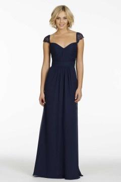 Elégante robe bleu nuit à dos découpé en dentelle avec mancherons pour mariage