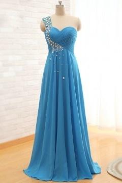 Elégante robe col asymétrique en strass vintage empire pour cortège mariage