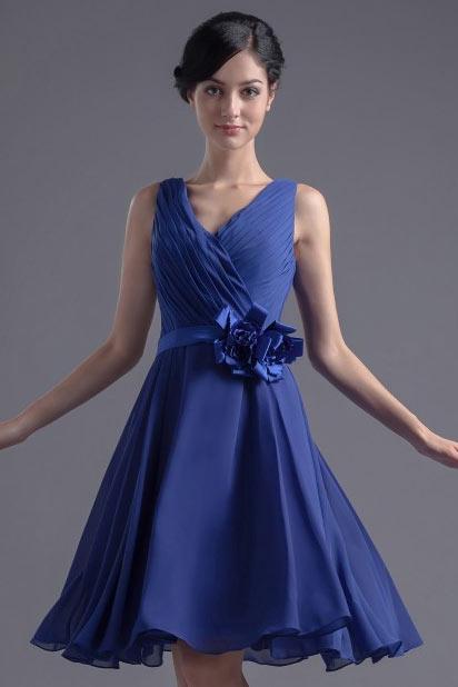 femme robe bleu courte pour mariage d collet e en v. Black Bedroom Furniture Sets. Home Design Ideas