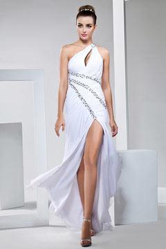 Femme robe de cocktail asymétrique fendue ornée de starss