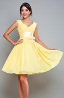 Robe jaune classe courte pour mariage