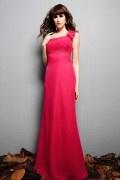 Longue robe fuchsia pour témoin mariage asymétrique ruchée