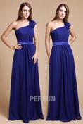 Longue robe pour mariage bleu asymétrique ornée de fleurs