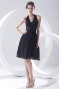 Maxi robe noire cocktail encolure halter bustier plissé