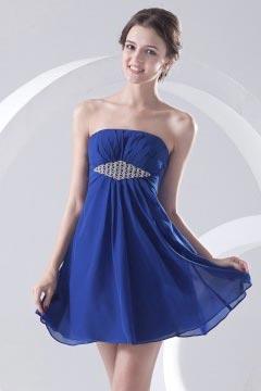 Mini robe bleu bustier ornée de bijoux empire pour mariage d'été