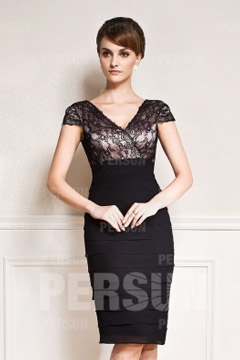 Noire robe mère de mariée fourreau col en V