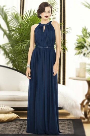 Robe bleu de nuit colonne encolure ronde ornée de paillettes pour mariage