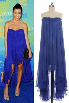 Robe bleu indigo courte devant longue dernière bustier en mousseline Kardashians Tcas